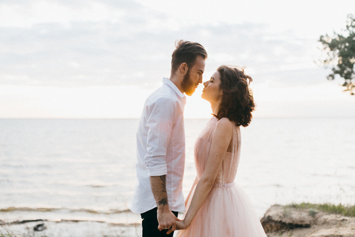 Beautiful wedding couple near the sea
