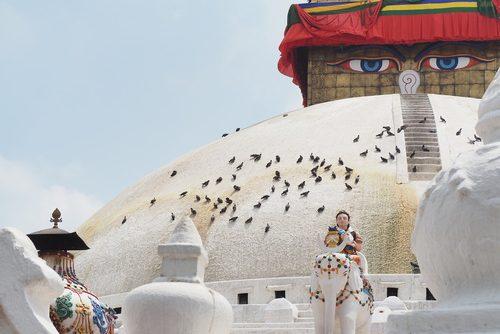 stupa Kathmadou lendemain du tremblement de terre