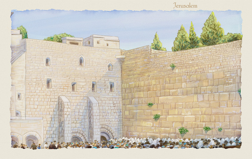 Western Wall Jerusalem, prayer. David's city - old city of Jerus