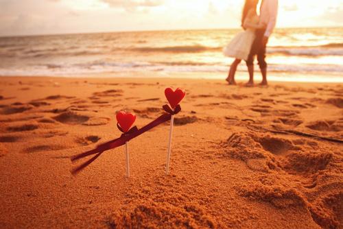 honeymoon, loving couple on the beach